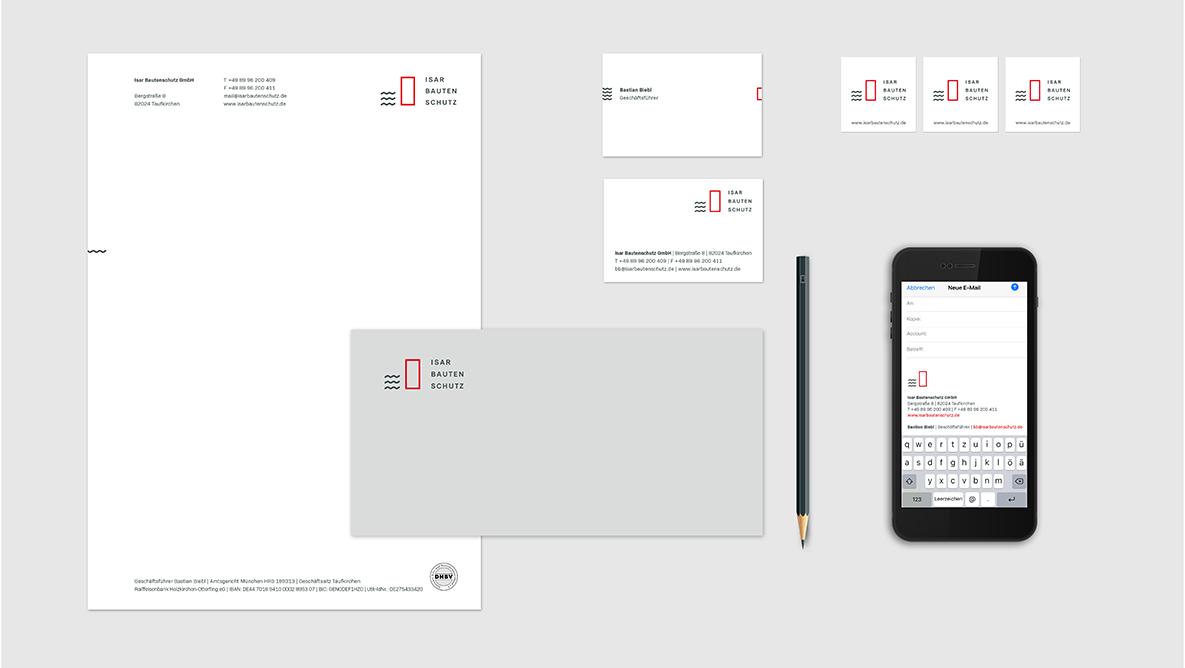 Isar Bautenschutz Corporate Design, Branding, Geschäftsausstattung, Briefpapier, Briefumschlag, Visitenkarte, Mobilsignatur, Aufkleber